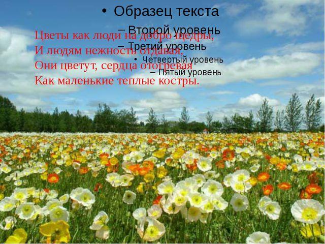 Цветы как люди на добро щедры, И людям нежность отдавая, Они цветут, сердца...