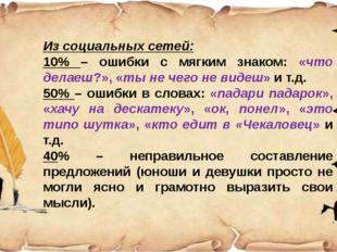 Из социальных сетей: 10% – ошибки с мягким знаком: «что делаеш?», «ты не чег