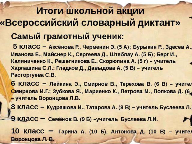 Итоги школьной акции «Всероссийский словарный диктант» Самый грамотный учени...