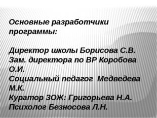 Основные разработчики программы: Директор школы Борисова С.В. Зам. директора