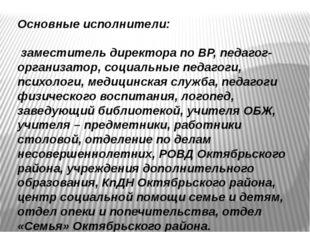 Основные исполнители: заместитель директора по ВР, педагог-организатор, соци