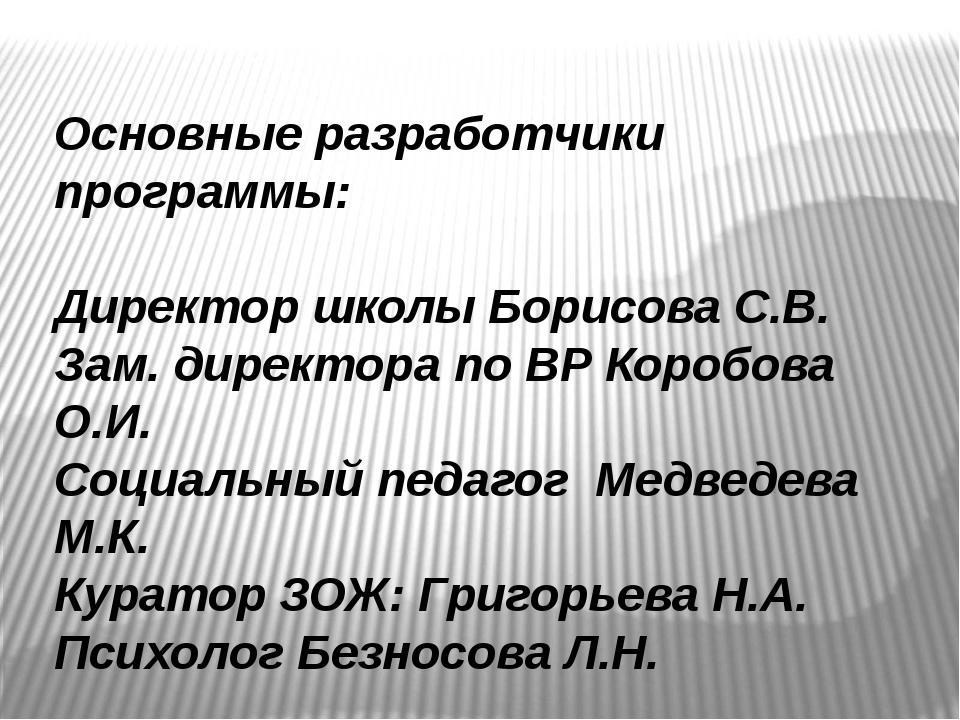 Основные разработчики программы: Директор школы Борисова С.В. Зам. директора...