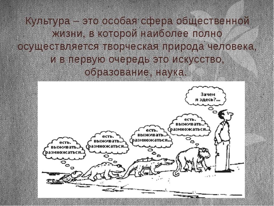 Культура – это особая сфера общественной жизни, в которой наиболее полно осущ...