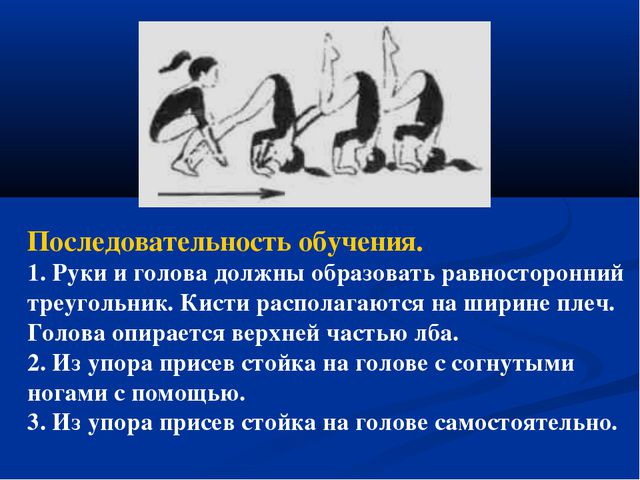 Последовательность обучения. 1. Руки и голова должны образовать равносторонни...