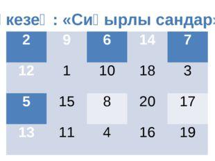 ІІ кезең: «Сиқырлы сандар» 2 9 6 14 7 12 1 10 18 3 5 15 8 20 17 13 11 4 16 19