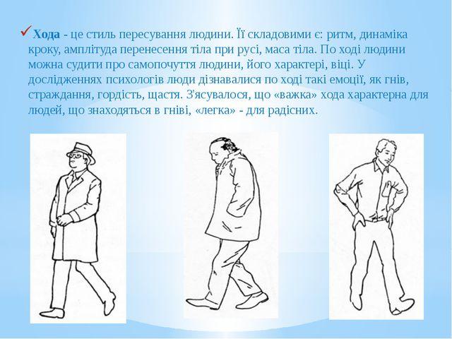 Хода - це стиль пересування людини. Її складовими є: ритм, динаміка кроку, ам...