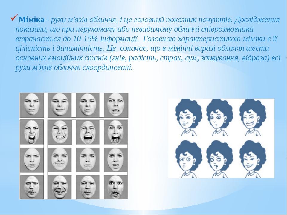 Міміка - рухи м'язів обличчя, і це головний показник почуттів. Дослідження по...