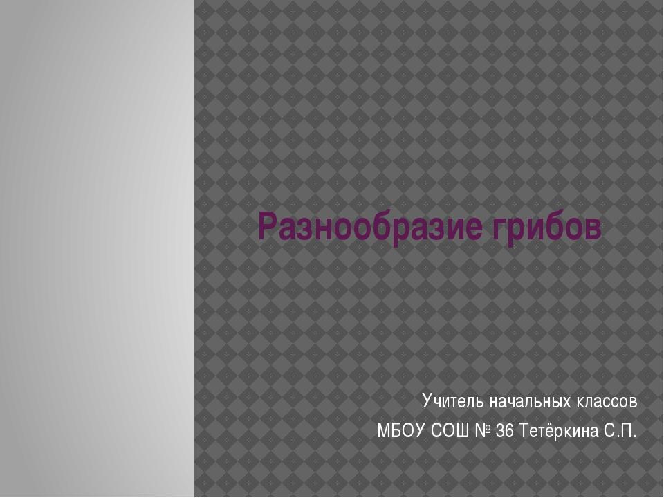 Разнообразие грибов Учитель начальных классов МБОУ СОШ № 36 Тетёркина С.П.