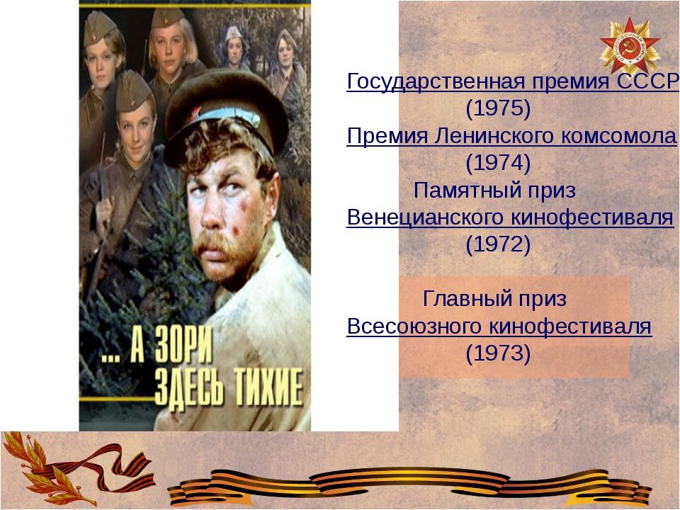 Государственная премия СССР (1975) Премия Ленинского комсомола (1974) Памятн...