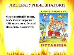ЛИТЕРАТУРНЫЕ ЗНАТОКИ Море пламенем горит, Выбежал из моря кит. «Эй, пожарные,