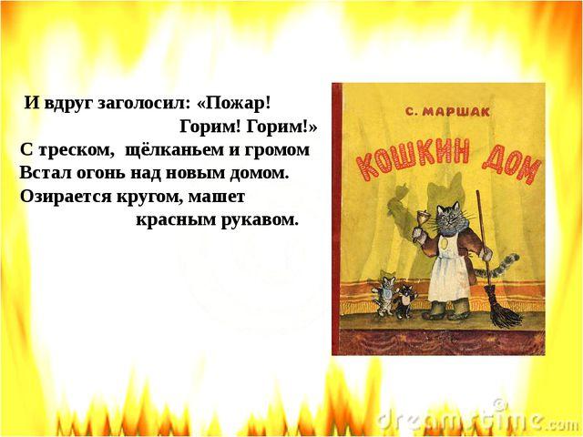 И вдруг заголосил: «Пожар! Горим! Горим!» С треском, щёлканьем и громом Вста...