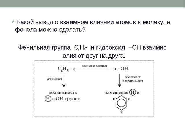 Какой вывод о взаимном влиянии атомов в молекуле фенола можно сделать? Фенил...