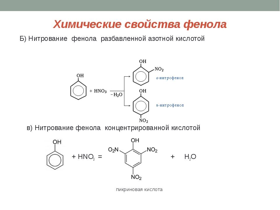 Химические свойства фенола Б) Нитрование фенола разбавленной азотной кислотой...