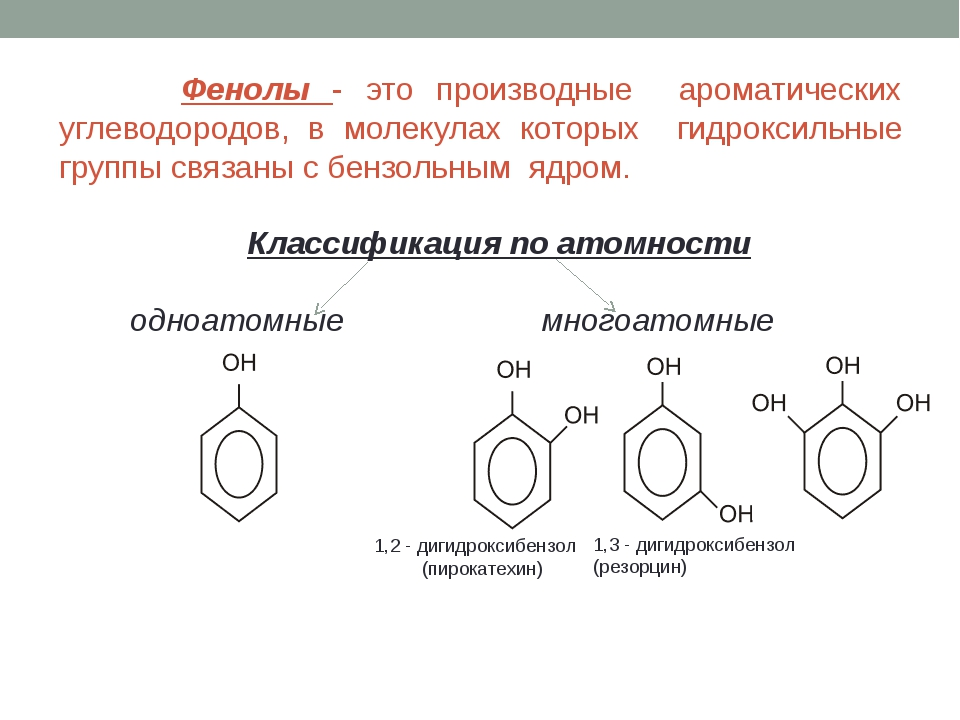 Фенолы - это производные ароматических углеводородов, в молекулах которых ги...