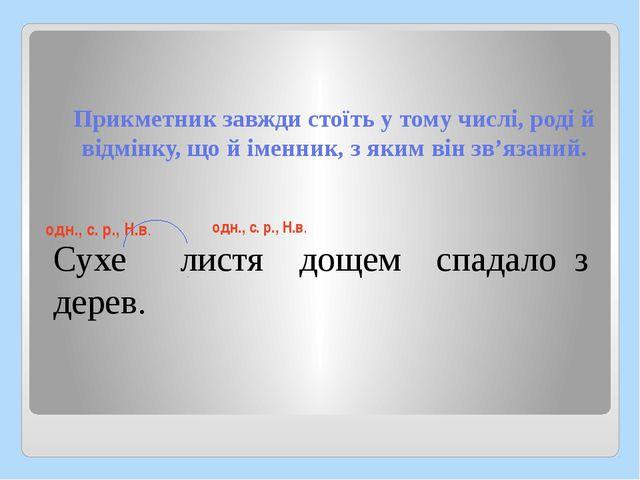 Прикметник завжди стоїть у тому числі, роді й відмінку, що й іменник, з яким...