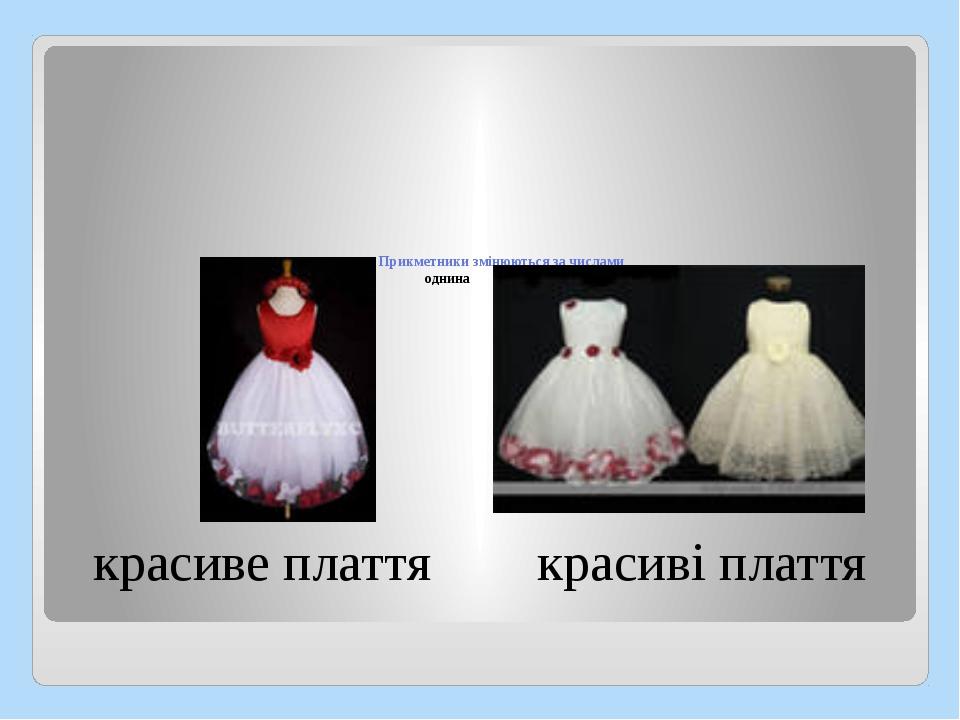 Прикметники змінюються за числами однина множина красиве плаття красиві плаття