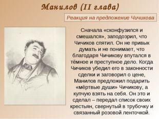Манилов (II глава) Реакция на предложение Чичикова Сначала «сконфузился и сме