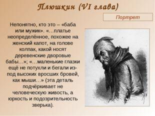 Плюшкин (VI глава) Портрет Непонятно, кто это – «баба или мужик». «…платье не