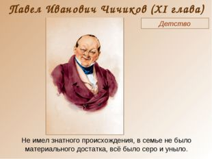 Павел Иванович Чичиков (XI глава) Детство Не имел знатного происхождения, в с