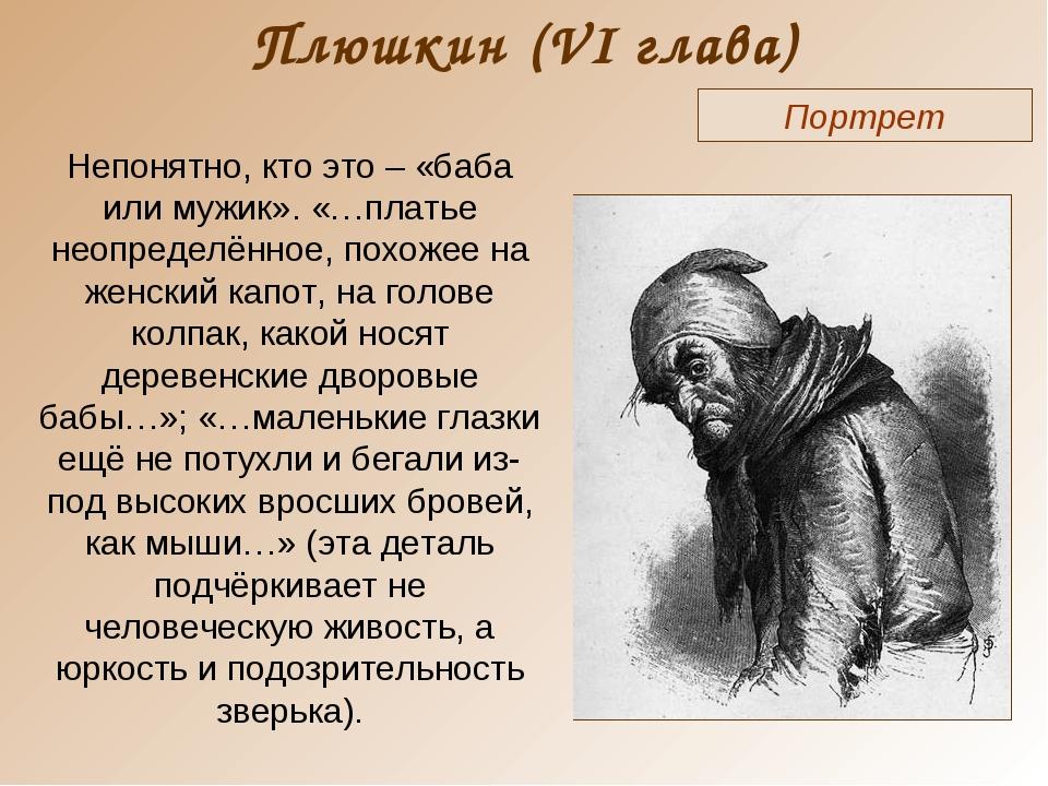Плюшкин (VI глава) Портрет Непонятно, кто это – «баба или мужик». «…платье не...