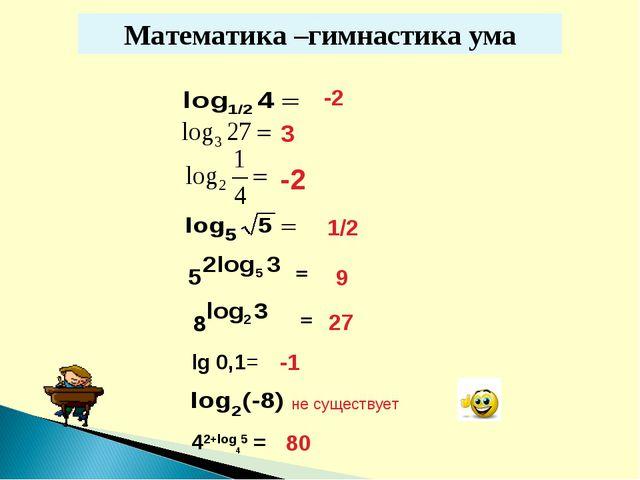 Математика –гимнастика ума -2 = 1/2 9 27 lg 0,1= -1 не существует 42+log45 =...