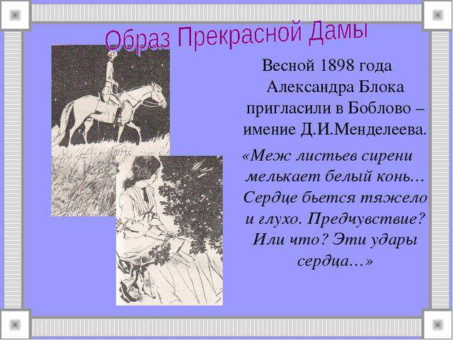 Весной 1898 года Александра Блока пригласили в Боблово – имение Д.И.Менделеев...