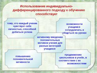 Использование индивидуально- дифференцированного подходу к обучению способств