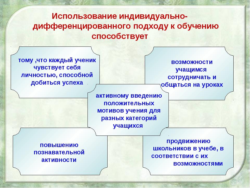 Использование индивидуально- дифференцированного подходу к обучению способств...