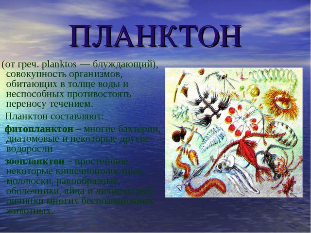 ПЛАНКТОН (от греч. planktos — блуждающий), совокупность организмов, обитающих...