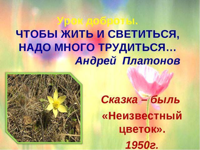 Урок доброты. ЧТОБЫ ЖИТЬ И СВЕТИТЬСЯ, НАДО МНОГО ТРУДИТЬСЯ… Андрей Платоно...
