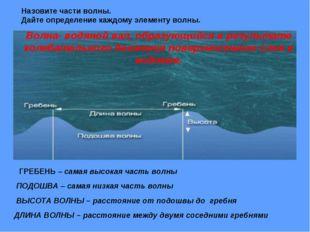 Назовите части волны. Дайте определение каждому элементу волны. ГРЕБЕНЬ – сам