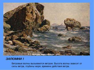 П.Т. Мальцев. Морской берег. 1961 ЗАПОМНИ ! Ветровые волны вызываются ветром.