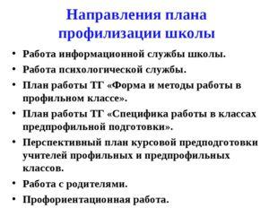 Направления плана профилизации школы Работа информационной службы школы. Рабо