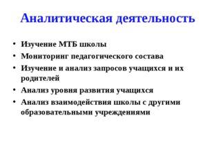 Аналитическая деятельность Изучение МТБ школы Мониторинг педагогического сост