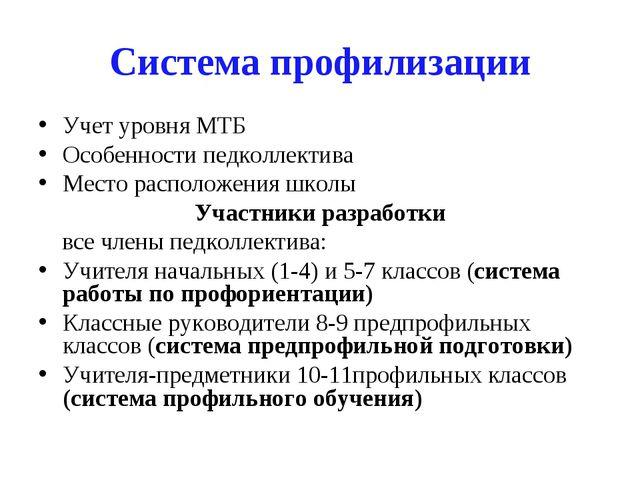 Система профилизации Учет уровня МТБ Особенности педколлектива Место располож...