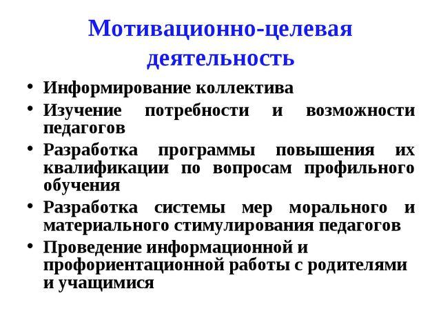 Мотивационно-целевая деятельность Информирование коллектива Изучение потребно...