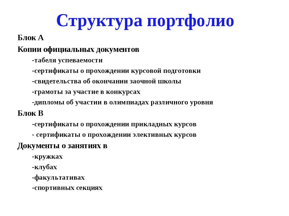 Структура портфолио Блок А Копии официальных документов -табеля успеваемости...
