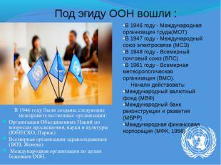 В 1946 году были созданы следующие межправительственные организации: Организа