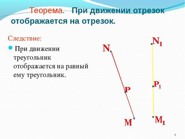 Теорема. При движении отрезок отображается на отрезок. Следствие: При движен...
