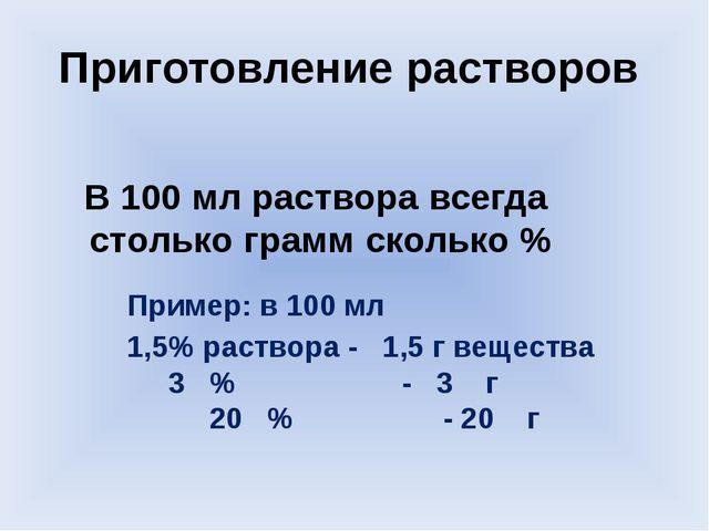 Приготовление растворов В 100 мл раствора всегда столько грамм сколько % Прим...