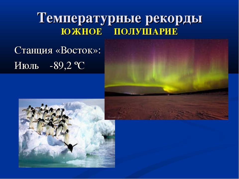 Температурные рекорды ЮЖНОЕ ПОЛУШАРИЕ Станция «Восток»: Июль -89,2 ºС