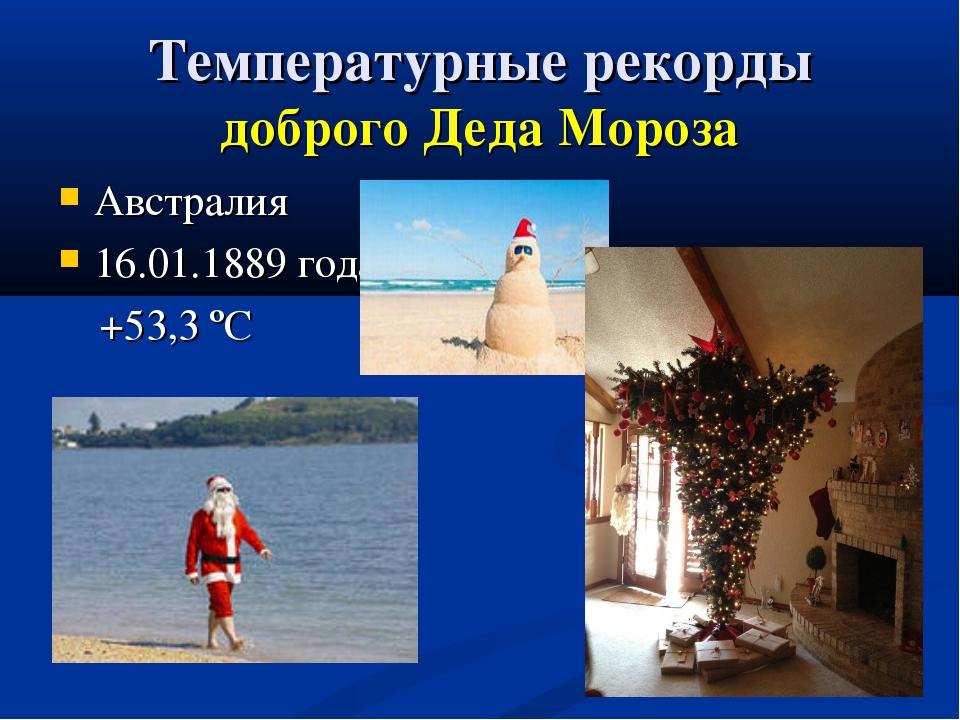 Температурные рекорды доброго Деда Мороза Австралия 16.01.1889 года +53,3 ºС