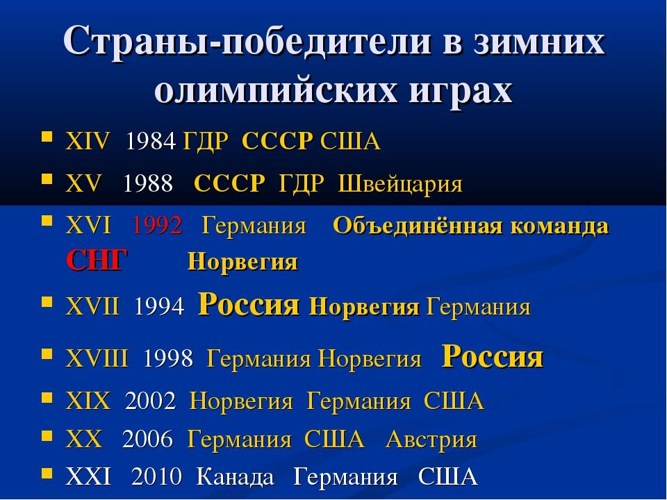 Страны-победители в зимних олимпийских играх XIV 1984 ГДР СССР США XV 1988 СС...