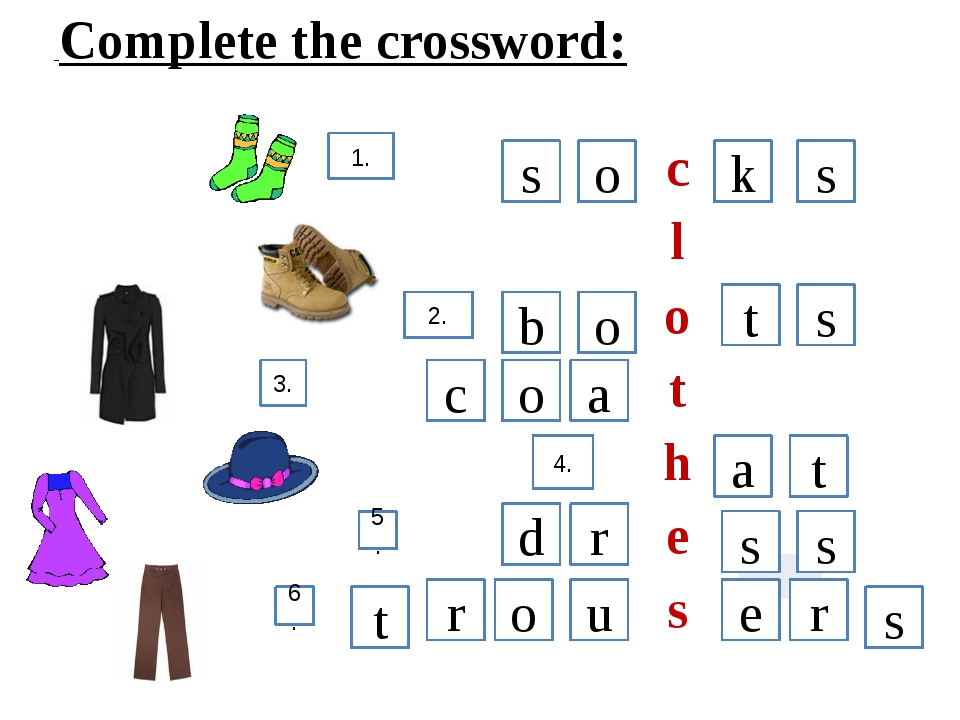 Complete the crossword: 1. 2. 3. 4. 5. 6. s o k s a o b c t s t a s r d r s...
