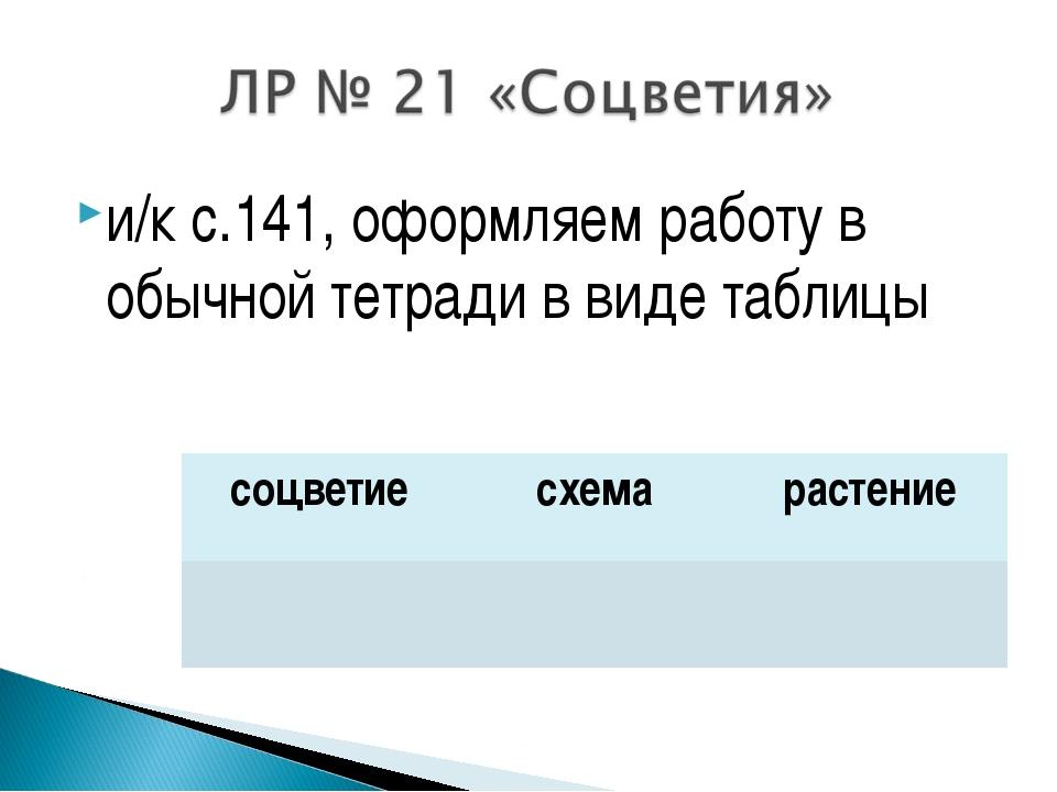 и/к с.141, оформляем работу в обычной тетради в виде таблицы соцветиесхемар...