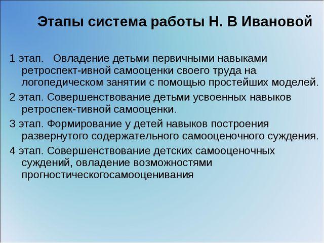 Этапы система работы Н. В Ивановой 1 этап. Овладение детьми первичными навык...