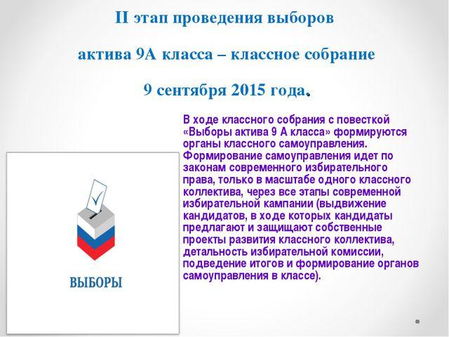 II этап проведения выборов актива 9А класса – классное собрание 9 сентября 20...