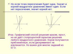 Но если точек пересечения будет одна. Значит и корней квадратное уравнение им