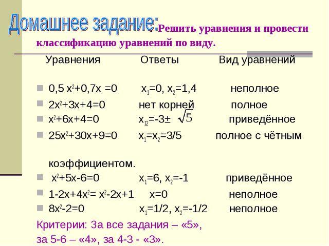 : Решить уравнения и провести классификацию уравнений по виду. Уравнения Отв...