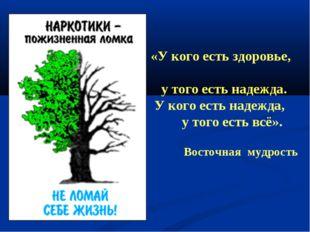 «У кого есть здоровье, у того есть надежда. У кого есть надежда, у того есть
